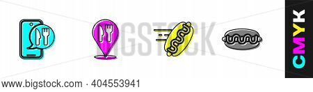Set Online Ordering And Delivery, Cafe Restaurant Location, Hotdog And Hotdog Sandwich Icon. Vector