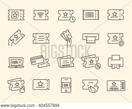 Set Of Tickets, Coupon, Flyer, Voucher Line Icons. Contains Such Icons As Early Bird, Mobile Ticket,