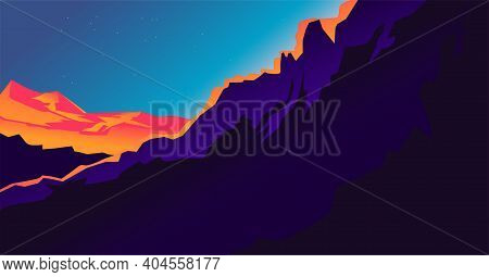 Purple Landscape With Mountains And Contrast Lava Orange Sunset Light And Stars In The Sky.