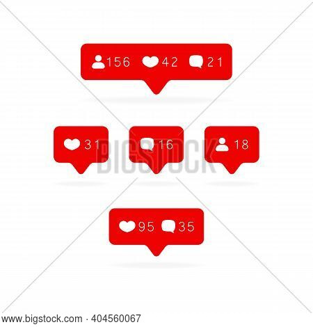 Like Counter Icon. Notification Counter Badge. Social Media Set Notifications Icons: Like, Follower,