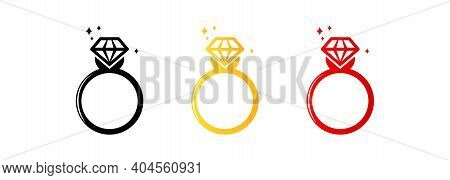 Set Of Rings Icons. Engagement Or Wedding Ring With Diamond. Ring With Diamond Logo. Vector Eps 10.