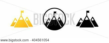 Set Of Mission Icons. Mountain With A Flag On The Top Icon In Black. Mission Concept. Goal. Success.