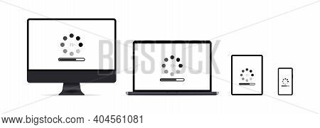 System Update. Laptop, Mobile, Phone, Tablet. Software Update In Process. Installing Update Process,