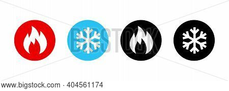 Set Of Heating And Cooling Icons. Hot And Cold Icon. Fire And Snowflake Sign. Heating And Cooling Bu