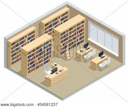 Isometric Bookshelves In The Library. Books In Public Library. Learning And Education Concept. Techn