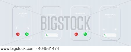 Phone Call Screen Template. Incoming Call. Iphone Call Screen Set. Interface. Slide To Answer. Accep