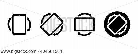 Set Of Rotate Smartphone Icons. Mobile Screen Rotation. Rotation Icon. Horisontal Or Vertical Rotati