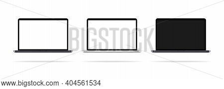 Set Of Laptop Icons. Desktop. Laptops With Different Monitor. Pc Monitor. Realistic Desktop. Vector