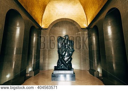 A Sculpture Of Peter Ii Petrovic Njegos With An Eagle In The Mausoleum On Mount Lovcen In Montenegro