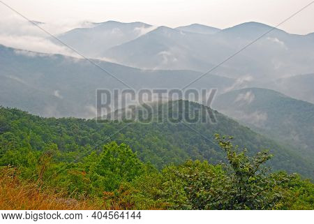 Fog And Mist In The Mountains On The Skyline Drive In Shenandoah National Park In Virginia