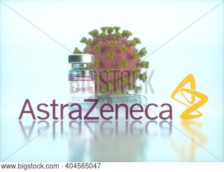Astrazeneca Vaccine, Conceptual Image For The Discovery Of A Vaccine For The Covid-19, Coronavirus,