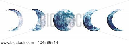Magic Blue Moon Phases Vector Design Set. Round Shaped Celestial Collection. Dusty Blue And Navy Col