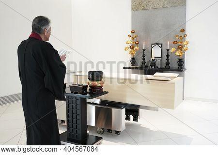 Kagawa, Japan - January 12 : The Funeral Of Mituo Yokoyama, Style Of A Japanese Small General Funera