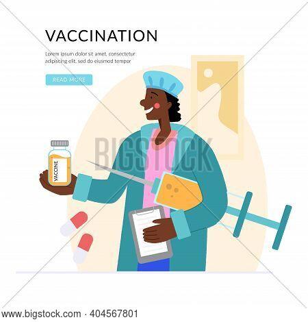 Vaccine Against Covid-19 Virus. Prevention Injection, Immunization. Coronavirus Infection Treatment.