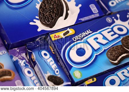 Kharkov, Ukraine - December 8, 2020: Oreo Sandwich Cookies And Blue Product Boxes On White Table. Or