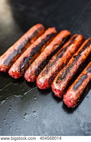 Plant-based Food, Vegan Plant-based Mock Meat Sausages On Outdoor Barbecue
