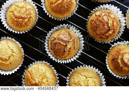 Corn Muffins. Fresh From The Oven. View From The Top