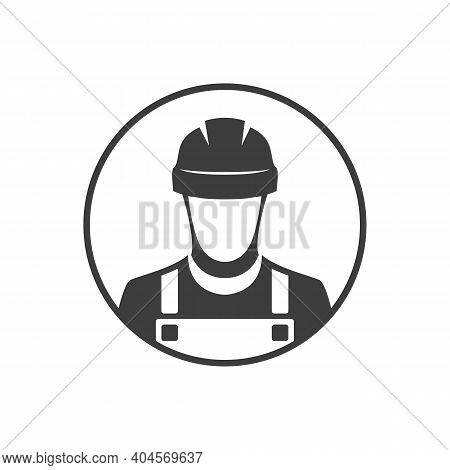 Worker With Hardhat, Construction Builder Black Vector Icon. Vector Eps 10.