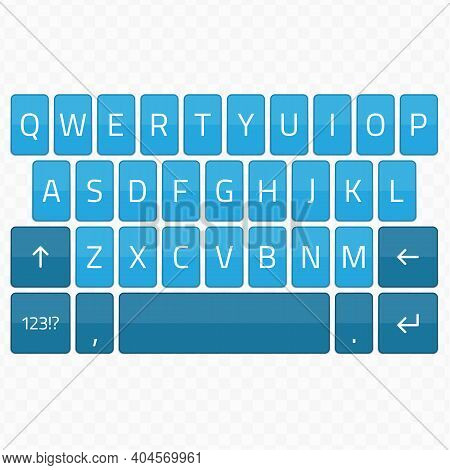 Qwerty Keyboard Set. Keyboard Of Smartphone, Alphabet And Numbers Buttons. Mobile Phone Keypad Vecto