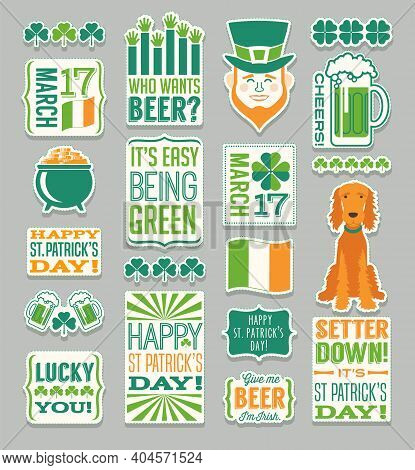 St. Patrick's Day Vector Design Elements, Typography And Icons For Banners, Greeting Cards, Invitati