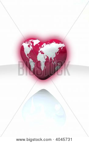 Illustration of a heart Earthmap made in 3D