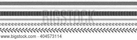 Tire Tread Or Tracks Set Isolated On White Background. Wheel Tyre Tread Print. Vector Illustration.