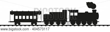 Retro Train. Antique Steam Locomotive With Tender And Vintage Car. Black Silhouette Isolated On Whit