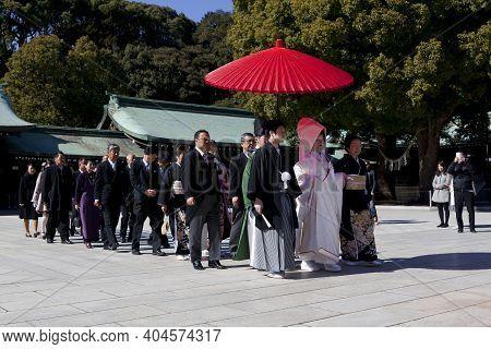 Tokyo,japan-feb 14 : A Japanese Wedding Ceremony At Meiji Jingu Shrine In Tokyo Japan On Feb 14,2015