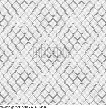 Seamless Chain Link Fence Background. Fences Made Of Metal Wire Mesh On Transparent Background. Wire