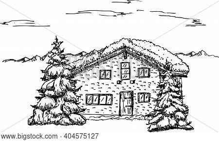 Winter Idyllic Landscape, Pine Trees And House In The Snow. Nature In The Mountains Sketch, Winter L