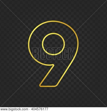 Gold Glittering Number Nine On Transparent Background. Shining Golden Number 9 Of Sparkles. Luxury G