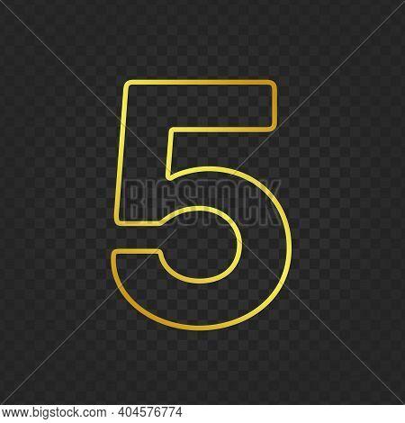 Gold Glittering Number Five On Transparent Background. Shining Golden Number 5 Of Sparkles. Luxury G