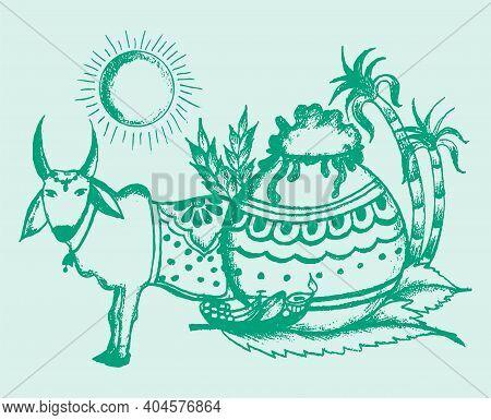 Sketch Of Outline Editable Illustration Of A Indian Traditional Harvest Festival Makara Sankranti Or