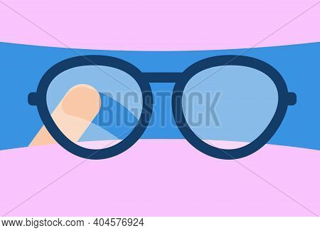 Concept Problem Of Foggy Glasses For Doctors Wearing Medical Face Mask And Surgical Cap. Finger Rubs