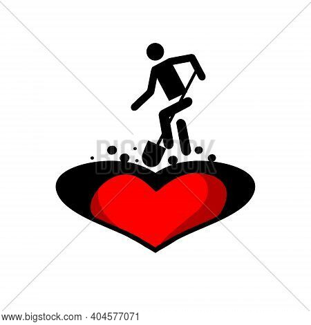 Person Buries The Heart. Heart In The Grave, A Metaphor For Past Love, Divorce.