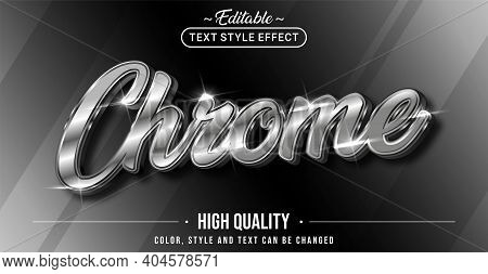 Editable Text Style Effect - Chrome Text Style Theme. Graphic Design Element.