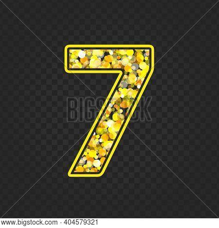 Gold Glittering Number Seven On Transparent Background. Shining Golden Number 7 Of Sparkles. Luxury