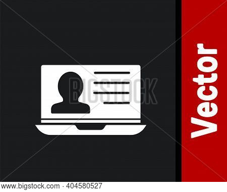 White Laptop With Resume Icon Isolated On Black Background. Cv Application. Searching Professional S