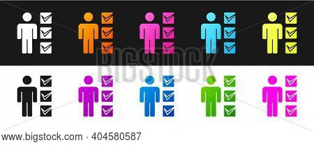 Set User Of Man In Business Suit Icon Isolated On Black And White Background. Business Avatar Symbol