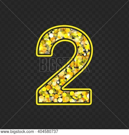 Gold Glittering Number Two On Transparent Background. Shining Golden Number 2 Of Sparkles. Luxury Go