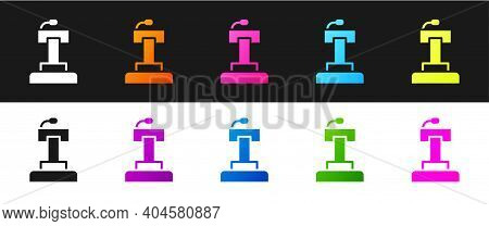 Set Stage Stand Or Debate Podium Rostrum Icon Isolated On Black And White Background. Conference Spe