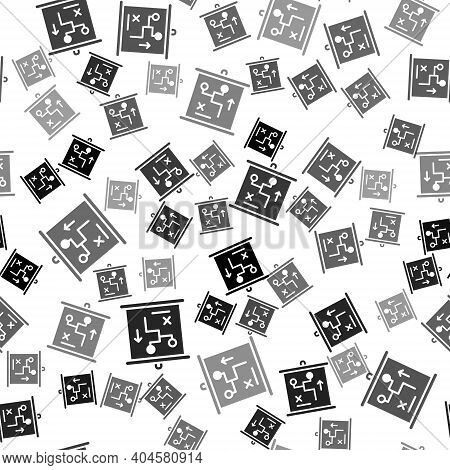 Black Planning Strategy Concept Icon Isolated Seamless Pattern On White Background. Cup Formation An