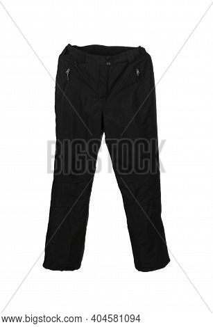 Black Ski Waterproof And Windproof Pants Isolated On White Background.