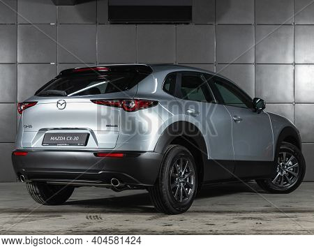 Novosibirsk, Russia - January 14 2021: Silver Mazda Cx30,  Back View.  Photography Of A Modern Cross