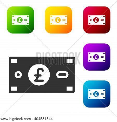 Black Pound Sterling Money Icon Isolated On White Background. Pound Gbp Currency Symbol. Set Icons I