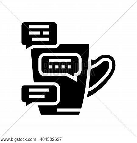 Coffee Break Communication Glyph Icon Vector. Coffee Break Communication Sign. Isolated Contour Symb