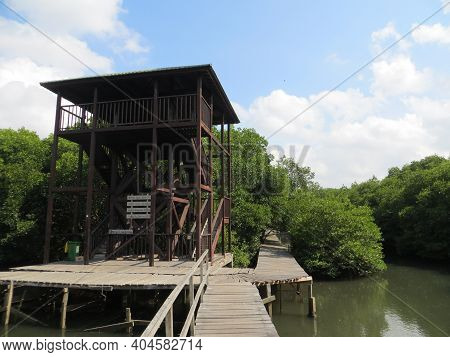 Denpasar, Indonesia : October 13, 2019: A Wooden House At Mangrove Forest Conservation In Bali.