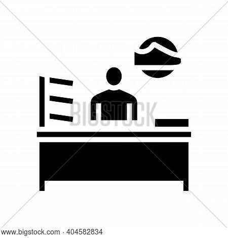 Shoes Seller Glyph Icon Vector. Shoes Seller Sign. Isolated Contour Symbol Black Illustration