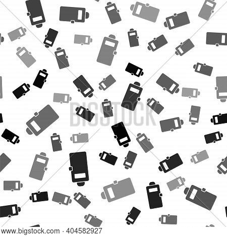 Black Police Assault Shield Icon Isolated Seamless Pattern On White Background. Vector