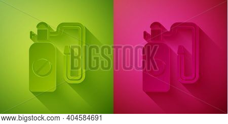 Paper Cut Pressure Sprayer For Extermination Of Insects Icon Isolated On Green And Pink Background.